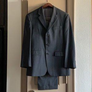Men's dark gray wool suit